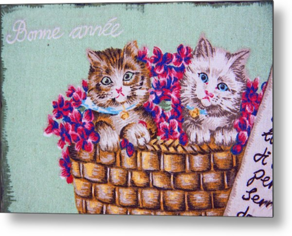 Kittens In A Basket Metal Print by Chet King