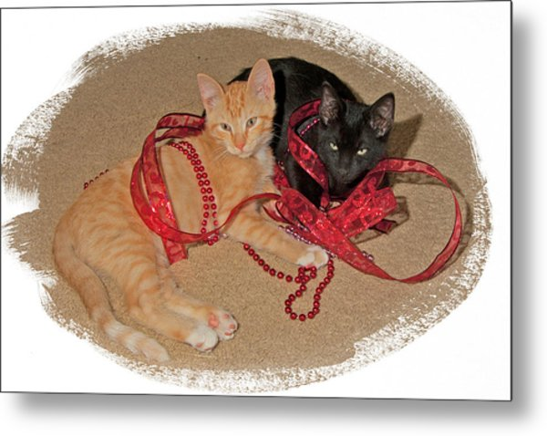 Kittens Ribbons And Beads Metal Print