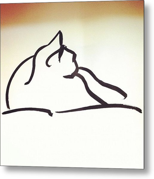 #kitty #cat #brush #drawing Metal Print