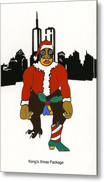 Kong's Xmas Package Metal Print