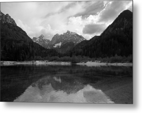 Kranjska Gora In Black And White Metal Print