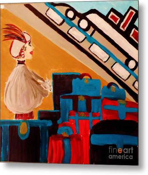 La Shai Waits For The Queen Mary II Metal Print by Marie Bulger