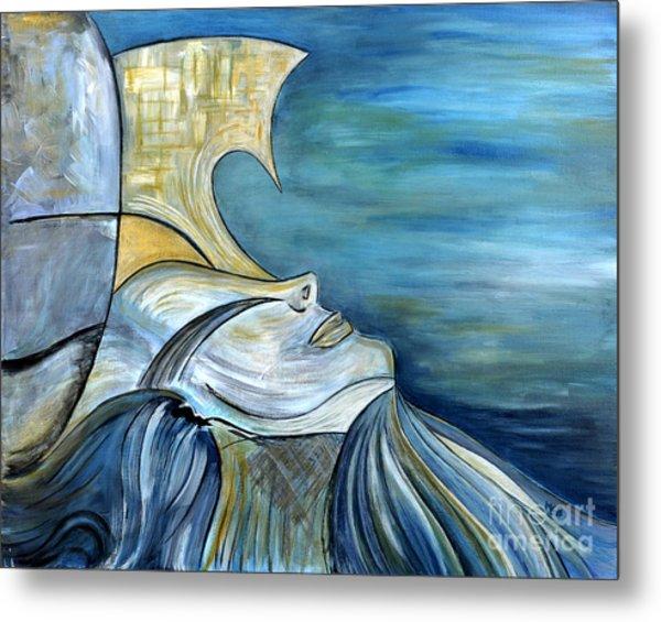 Beautiful Mysterious Blue Woman Portrait La Sirene French For Mermaid Mythic Siren Original Painting Metal Print by Marie Christine Belkadi