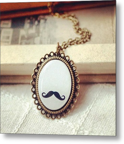 #lace #mustache #book #necklace Metal Print