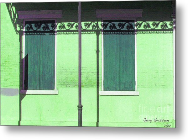 Lace Shadows And Plank Shutters Metal Print by Jerry Grissom