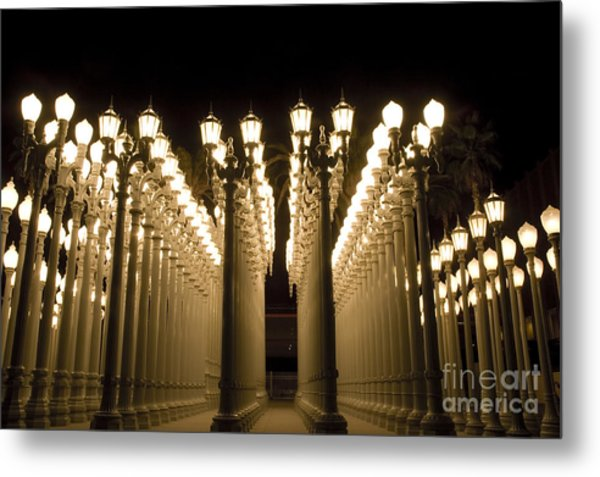 Lacma Light Exhibit In La Metal Print