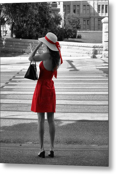 Lady In Red With Color Splash Metal Print