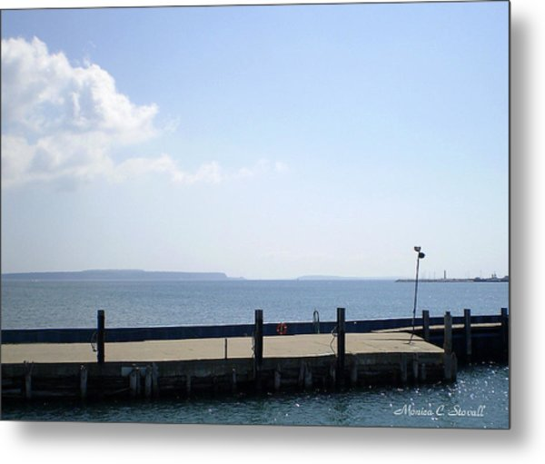 Lake Huron Harbor And Mackinaw Island View - Michigan Metal Print