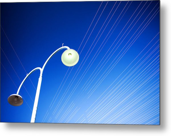 Metal Print featuring the photograph Lamp Post And Cables by Yew Kwang
