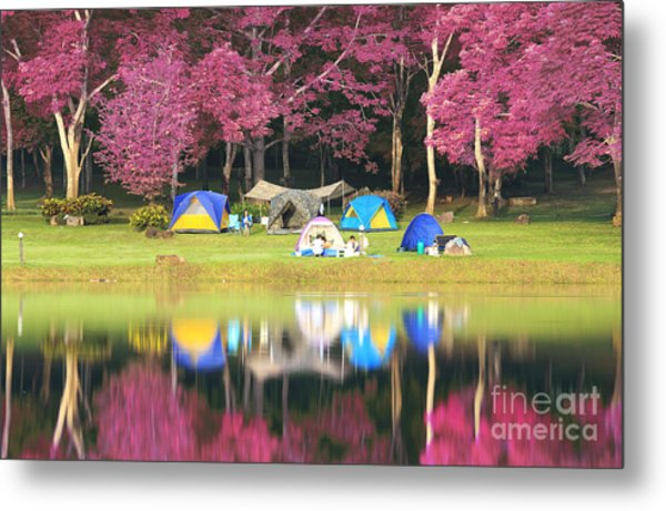 Landscape Of Pink Garden Metal Print by Anek Suwannaphoom