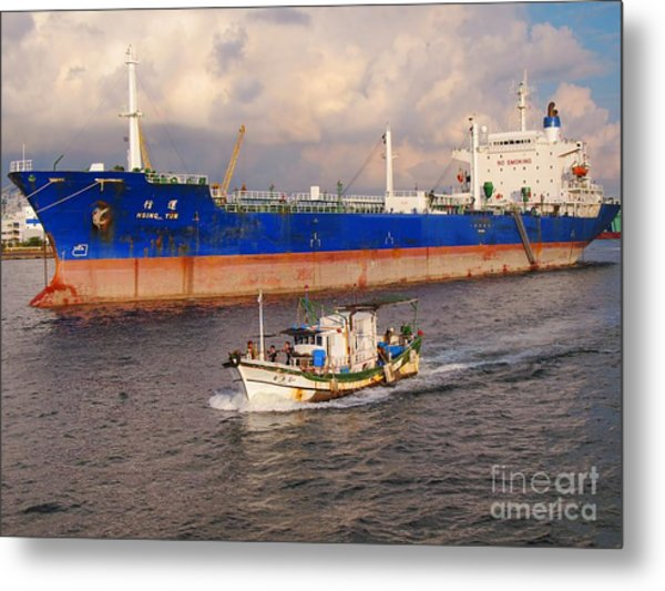 Large Oiltanker And Chinese Fishing Boat Metal Print
