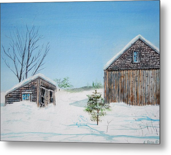 Last Barn In Winter Metal Print