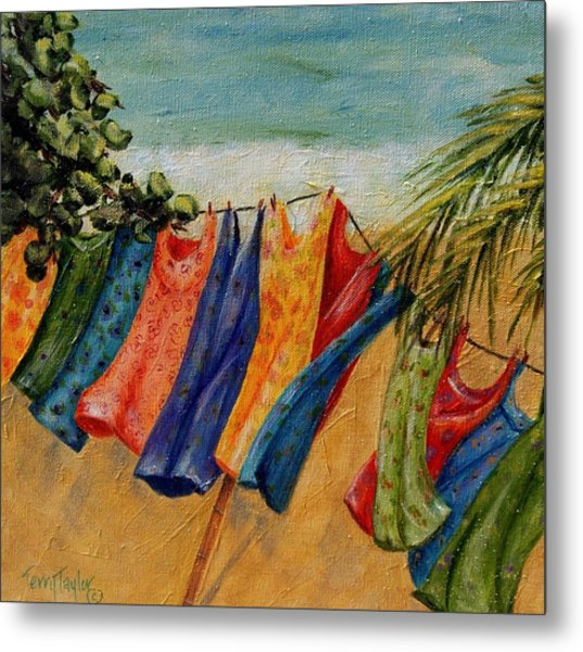 Laundry Day At The Beach Metal Print
