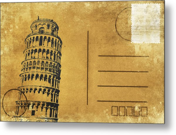 Leaning Tower Of Pisa Postcard Metal Print