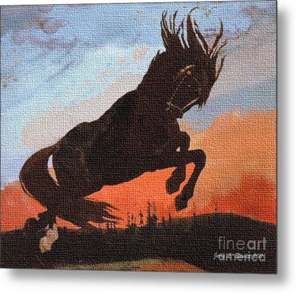 Leaping Black Horse Metal Print by Jerry L Barrett