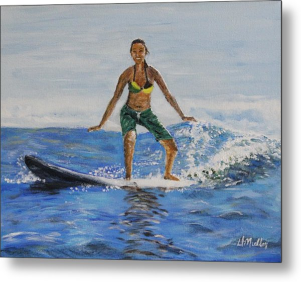 Learning To Surf Metal Print by Donna Muller