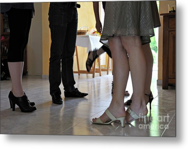 Legs People Talking Together Metal Print by Sami Sarkis