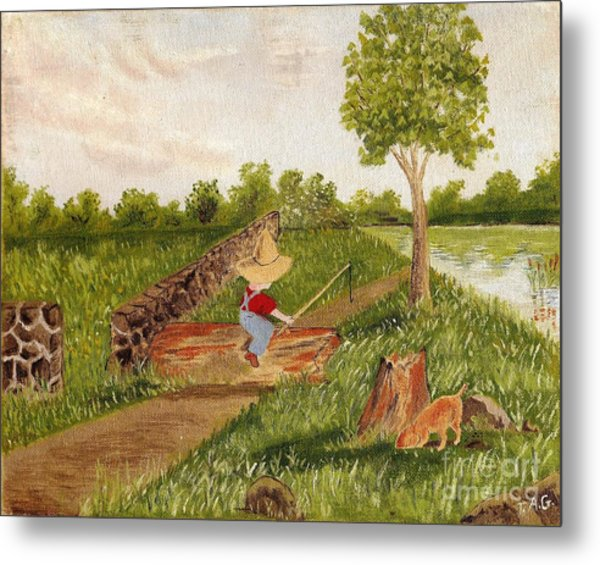 Let's Go Fishing Metal Print