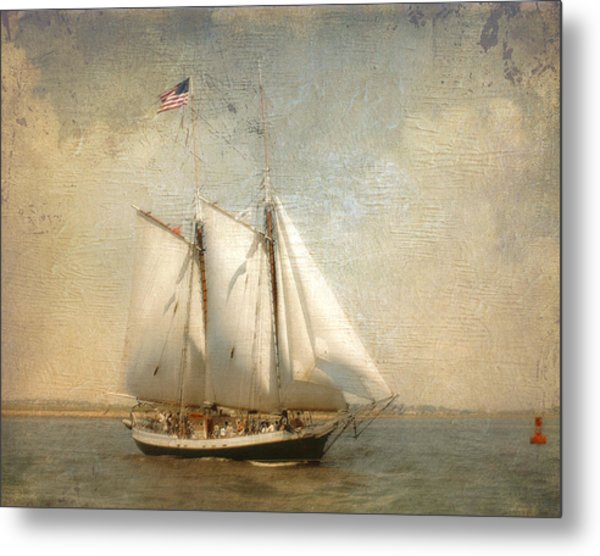 Liberty Clipper On Boston Harbor Metal Print