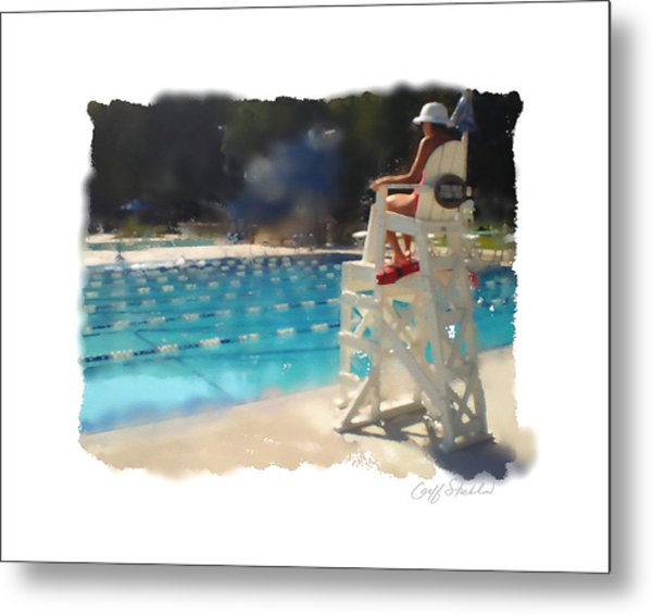 Lifeguard At Tosa Pool Metal Print by Geoff Strehlow