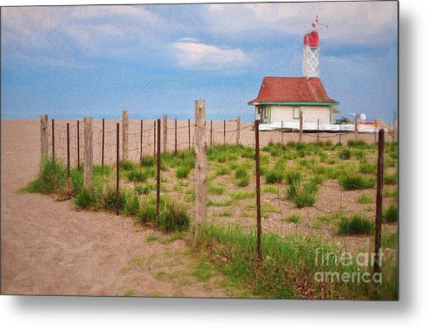Lifeguard Hut Seen Through Fence Metal Print