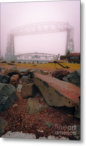 Lift Bridge In Spring Fog Metal Print