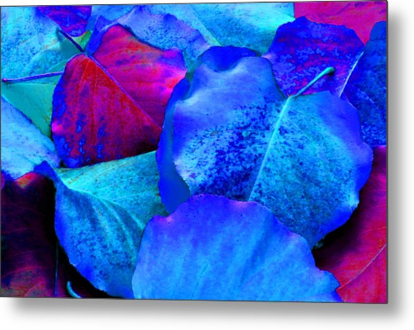 Light Blue And Fuchsia Leaves Metal Print