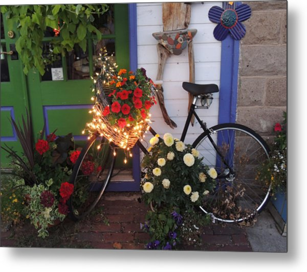 Lighted Bicycle Bayfield Metal Print by Peg Toliver