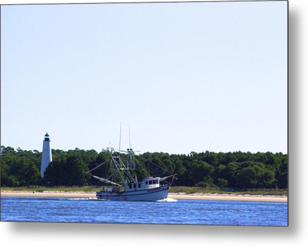 Metal Print featuring the photograph Lighthouse And Shrimp Boat by Ralph Jones