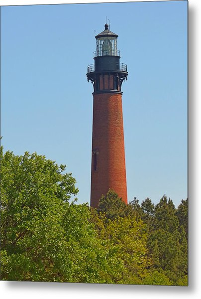 Lighthouse At Corolla N C Metal Print by J D  Whaley