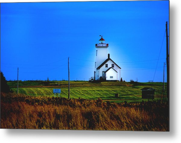 Lighthouse In Darkness Metal Print