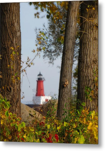Lighthouse Mist Metal Print