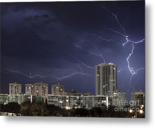 Lightning Bolt In Sky Metal Print by Blink Images