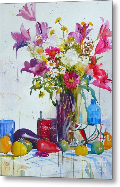 Lilies And Piggy Bank Metal Print by Andre MEHU