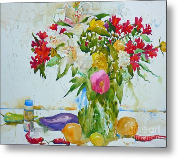 Lilies And Red Peppers Metal Print by Andre MEHU