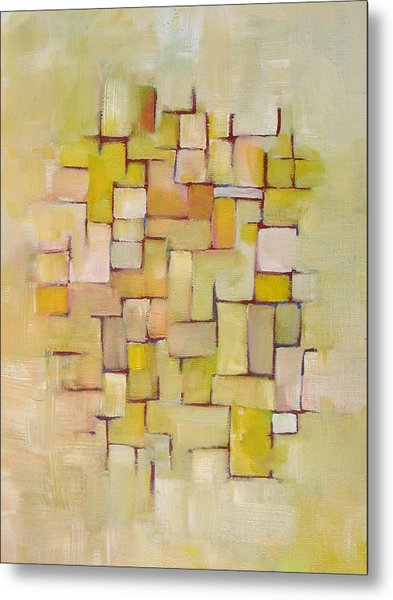 Line Series Yellow Basket Weave Metal Print