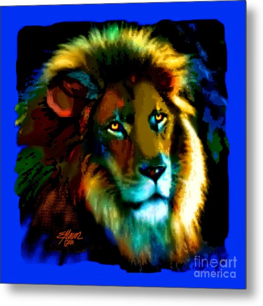 Metal Print featuring the painting Lion Icon by Elinor Mavor