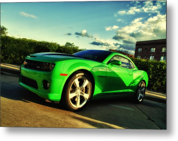 Liquid Green Metal Print