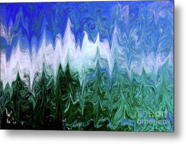 Liquid Green Splash Metal Print