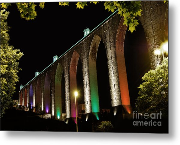 Lisbon Historic Aqueduct By Night Metal Print