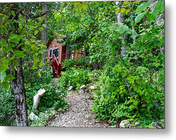 Little Cabin In The Woods Metal Print by Infinitimage Canada