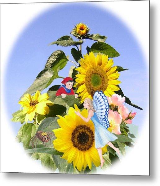 Little Folk Among The Sunflowers Metal Print by Maureen Carter