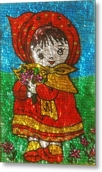 Little  Girl - Glass Painting Metal Print by Rejeena Niaz