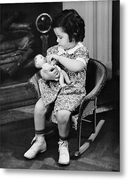 Little Girl Playing With Doll Metal Print by George Marks