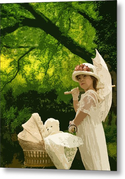 Little Girl Yesteryear Metal Print by Trudy Wilkerson