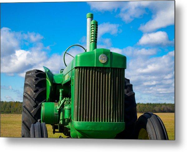 Little Green Tractor Metal Print