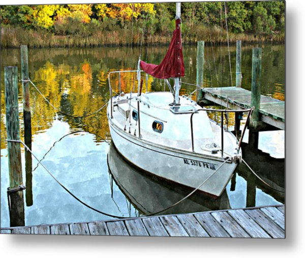 Little Sailboat Metal Print