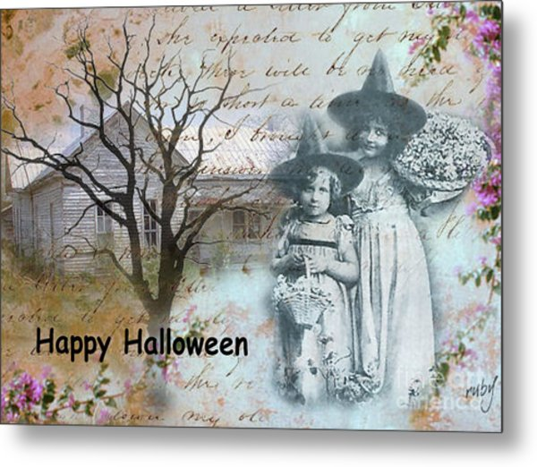 Little Witches Blue Metal Print