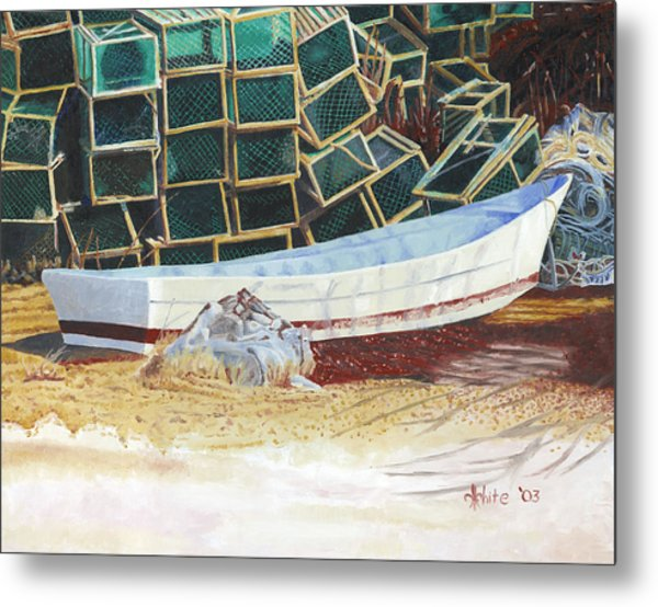 Lobster Traps And Dory Metal Print