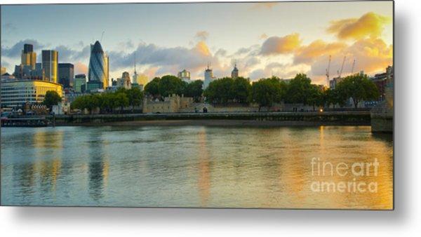 London Cityscape Sunrise Metal Print by Donald Davis